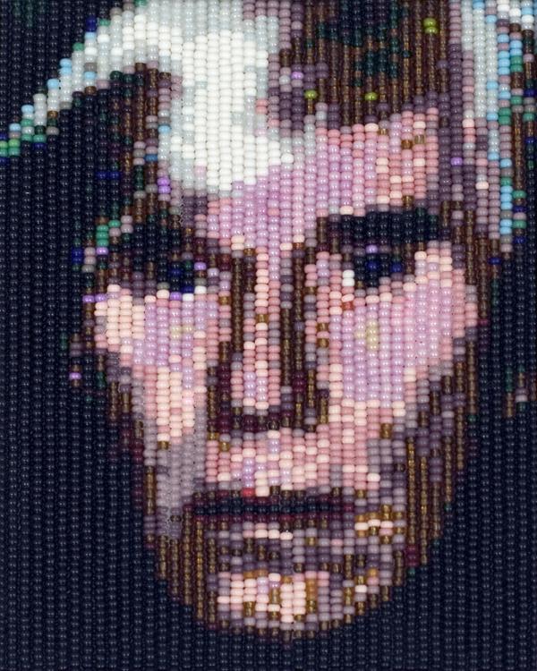Andy Warhol, 2007, perles de couleur, 13 X 10 cm